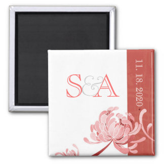 Asian Style Mum Red + White Monogram Save the Date 2 Inch Square Magnet