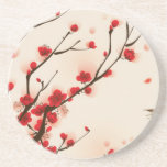 """Asian Style Painting, Plum Blossom in Spring Sandstone Coaster<br><div class=""""desc"""">Beautiful Plum Blossom in Spring,  Oriental Style Watercolor 