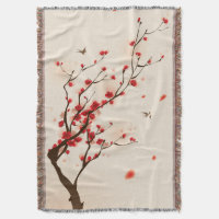 Asian Style Painting, Plum Blossom in Spring Throw Blanket
