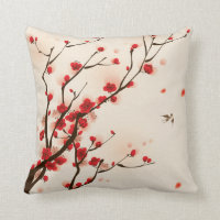 Asian Style Painting, Plum Blossom in Spring Throw Pillow