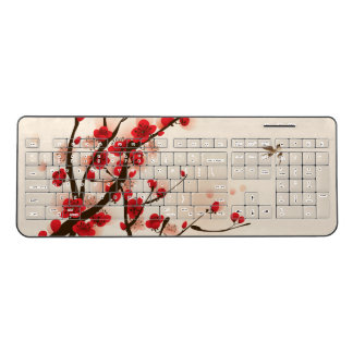 Asian Style Painting, Plum Blossom in Spring Wireless Keyboard