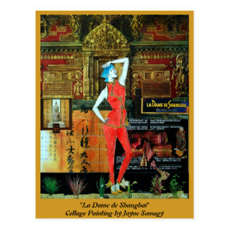Asian-style postcard w/ Original Collage Art