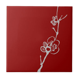 Asian Style White Plum Blossom Branch on Red Tile
