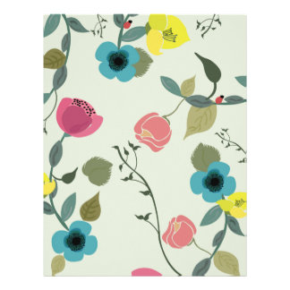 Asian styled floral patterns letterhead