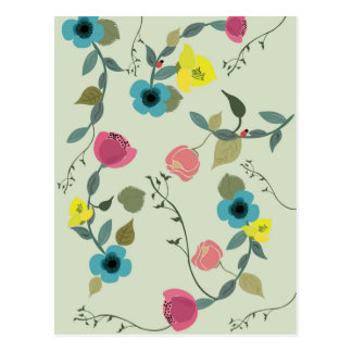 Asian styled floral patterns postcard