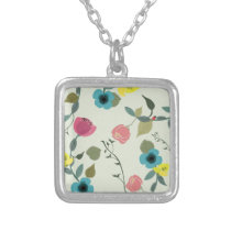 Asian styled floral patterns silver plated necklace