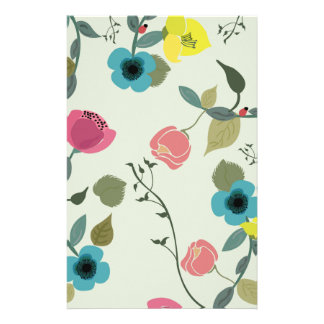 Asian styled floral patterns stationery