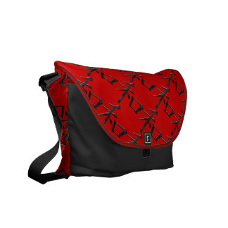 Asian symbol peace black red white courier bag