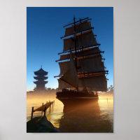 Asian Tall Ship Mini Poster