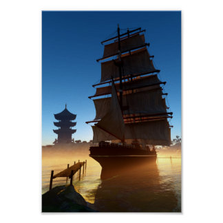 Asian Tall Ship Mini Poster