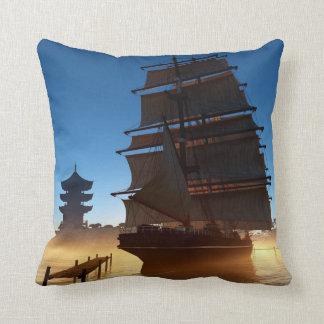 Asian Tall Ship Throw Pillow