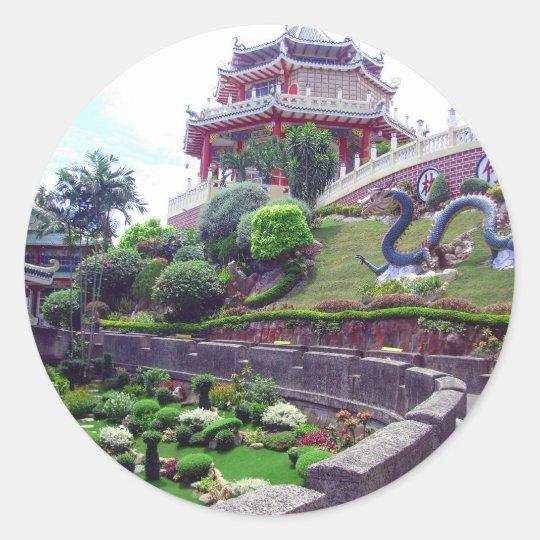 Asian Taoist temple Classic Round Sticker