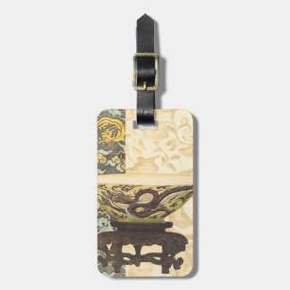 Asian Tapestry with Bowl and Dragon Design Bag Tag