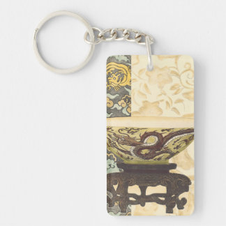 Asian Tapestry with Bowl and Dragon Design Double-Sided Rectangular Acrylic Keychain