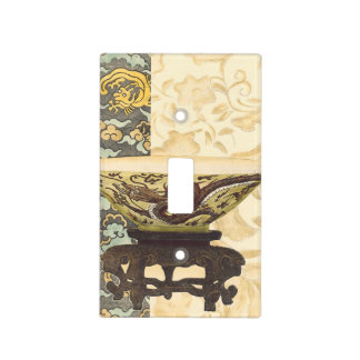 Asian Tapestry with Bowl and Dragon Design Light Switch Cover