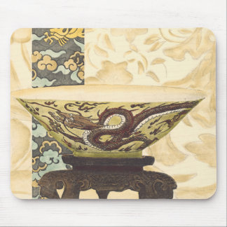 Asian Tapestry with Bowl and Dragon Design Mouse Pad