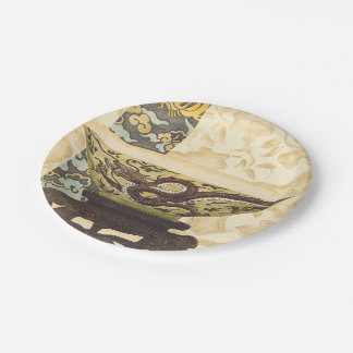 Asian Tapestry with Bowl and Dragon Design Paper Plate