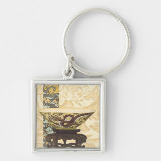 Asian Tapestry with Bowl and Dragon Design Silver-Colored Square Keychain