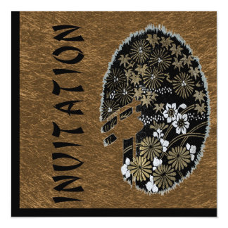 """Asian Tea Garden Party Gold and Black 5.25"""" Square Invitation Card"""