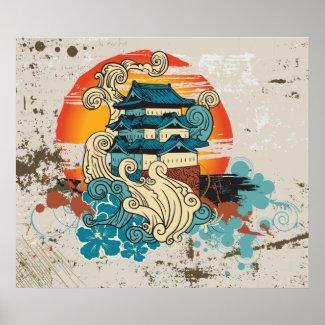Asian Temple Pagoda and sun custom print poster