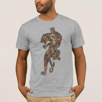 Asian Tiger Tattoo gray semi fitted mens tshirt