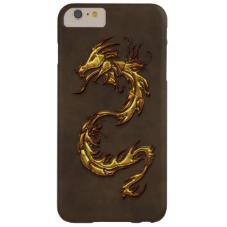 Asian Tribal Gold Dragon & Faux-Leather Barely There iPhone 6 Plus Case