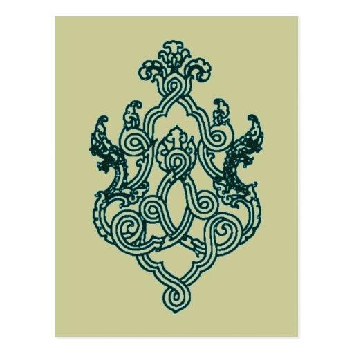 ASIAN TRIBAL TATTOO DESIGN BUDDHIST HINDU POST CARDS
