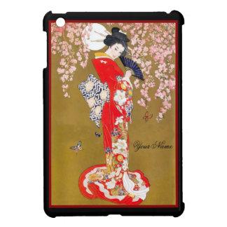 Asian Vintage Diva Lady Retro Red iPad Mini Cases