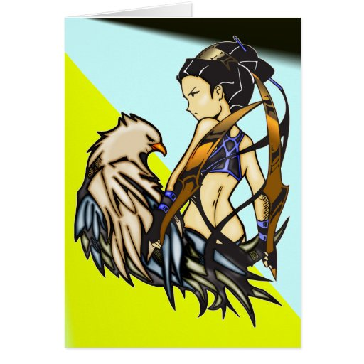 Asian Warrior Woman and Eagle Greeting Card
