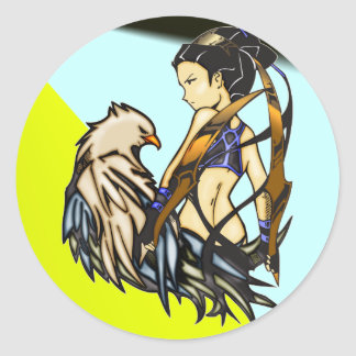 Asian Warrior Woman and Eagle Classic Round Sticker