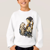 Asian Warrior Woman and Eagle Sweatshirt