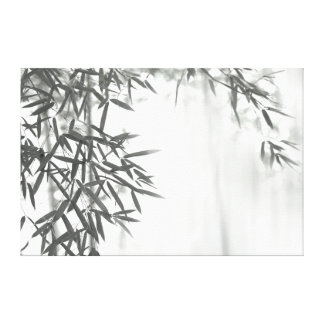 Asian wash painting style (sumi-e) style bamboo stretched canvas print
