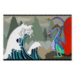Asian Water Dragon 12 x 8 Poster