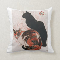 Asian watercolor cats throw pillow