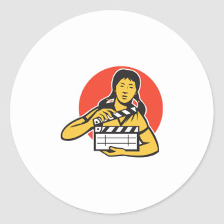 Asian woman girl with movie clapboard classic round sticker