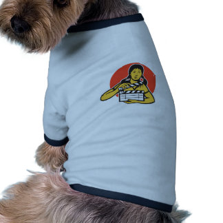 Asian woman girl with movie clapboard doggie tshirt