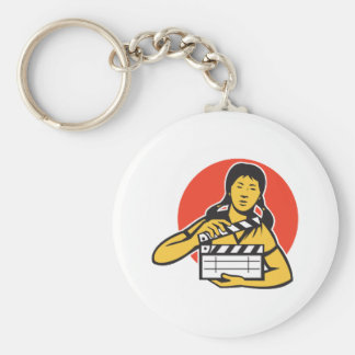 Asian woman girl with movie clapboard keychain