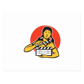 Asian woman girl with movie clapboard postcard