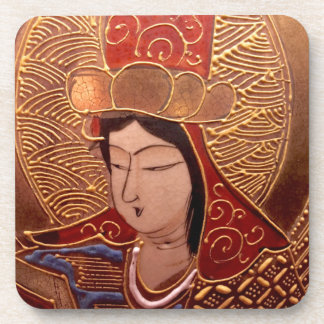 Asian Woman Glossy Plastic Coasters