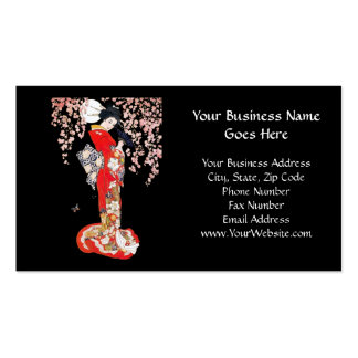 Asian Woman with Cherry Blossom Night Business Card Templates