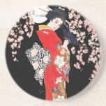 Asian Woman with Cherry Blossom Night Beverage Coaster