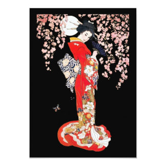 Asian Woman with Cherry Blossom Night 5x7 Paper Invitation Card