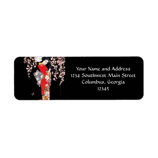Asian Woman with Cherry Blossom Night Label