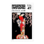 Asian Woman with Cherry Blossom Night Postage