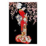 Asian Woman with Cherry Blossom Night Poster