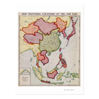 AsiaPanoramic del este MapEast Asia Tarjeta Postal