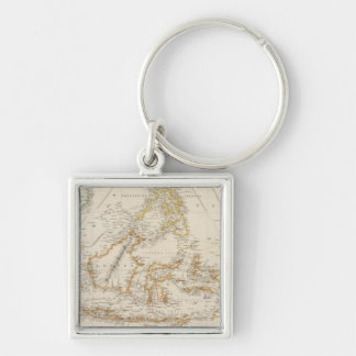 Asiatic Archipelago Silver-Colored Square Keychain