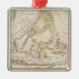 Asiatic Archipelago Square Metal Christmas Ornament