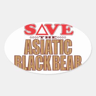 Asiatic Bear Save Oval Sticker