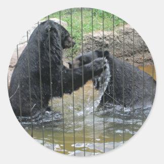Asiatic Black Bears Classic Round Sticker